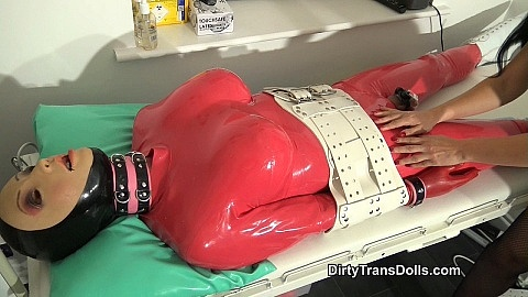 Teased rubber doll in chastity part 1